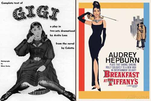 Audrey Hepburn in Gigi 1951 and Breakfast at Tiffany's 1961