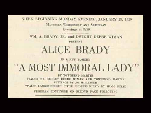 Alice Brady in A Most Immoral Lady 1929