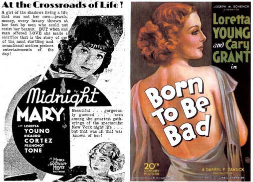 Loretta Young in Midnight Mary 1933 and Born to Be Bad 1934