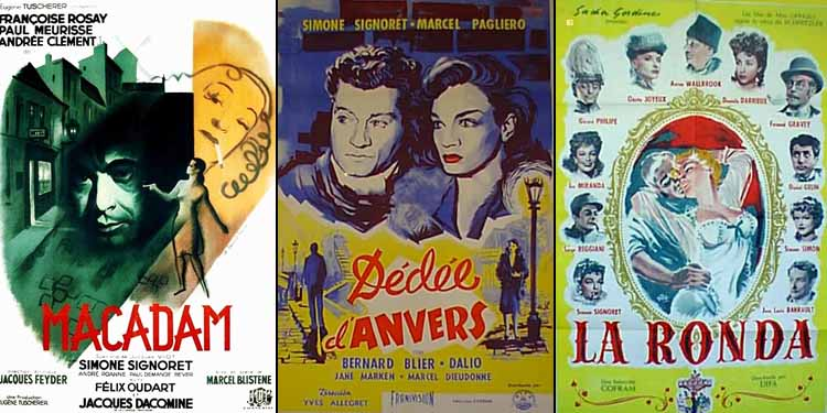 Simone Signoret in Back Streets of Paris 1946, Dédée d'Anvers 1948 and La Ronde 1950