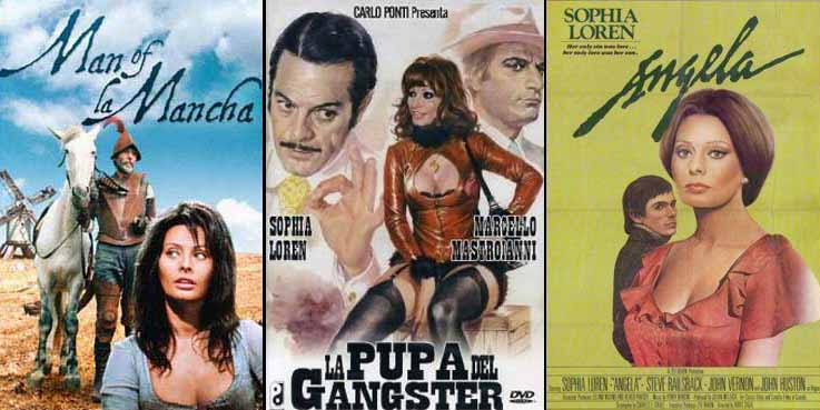 Sophia Loren in Man of La Mancha 1972 La pupa del gangster 1975 and Angela 1978