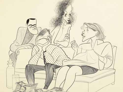 Al Hirschfeld Cast Drawing Of Everything in the Garden 1969 From Left To Right:<br> Barry Nelson, Robert Morse Beatrice Straight and Barbara Bel Geddes