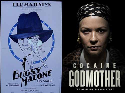 Catherine Zeta-Jones in Bugsy Malone 1983 and Cocaine Godmother 2018